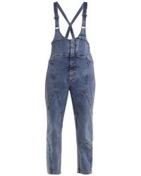See By Chloé - Panelled Slim-leg Denim Dungarees - Lyst