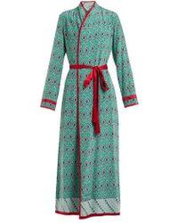 Talitha - Geometric-print Silk-crepe Robe - Lyst