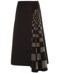 Fendi - Checked Gazar-insert Midi Skirt - Lyst