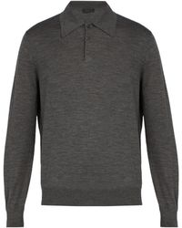 Prada - Spread Collar Fine Knit Jumper - Lyst