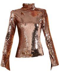 Halpern - Sequin Embellished High Neck Top - Lyst