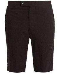 Moncler - Slim Leg Cotton Seersucker Shorts - Lyst