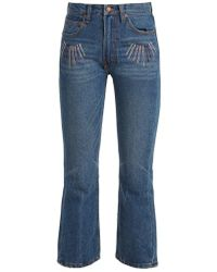 Bliss and Mischief - Sunrise-embroidered High-rise Cropped Jeans - Lyst