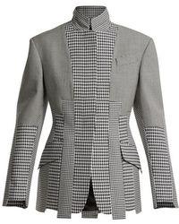 Alexander McQueen - Panelled-houndstooth Wool Jacket - Lyst