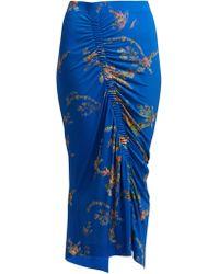 Preen By Thornton Bregazzi - Tracy Floral Print Ruched Midi Skirt - Lyst