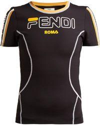 Fendi Logo Print Stretch Jersey T Shirt
