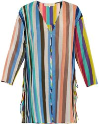 Diane von Furstenberg - V Neck Striped Cotton Blend Dress - Lyst