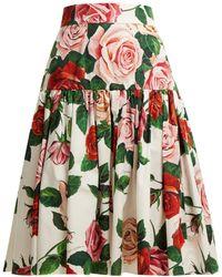 Dolce & Gabbana - Rose Print Cotton Poplin Midi Skirt - Lyst