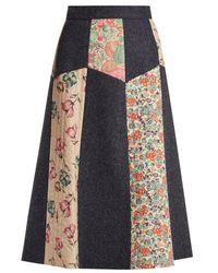 RED Valentino - Patchwork Wool-herringbone Midi Skirt - Lyst