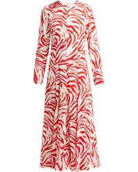 MSGM - Zebra Print Panelled Crepe Dress - Lyst