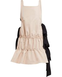 N°21 Bow Embellished Tiered Twill Dress - Pink