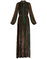 By. Bonnie Young - Sequin-embellished Tie-neck Silk-chiffon Gown - Lyst