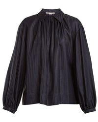 Stella McCartney - Stripe-jacquard Silk Blouse - Lyst