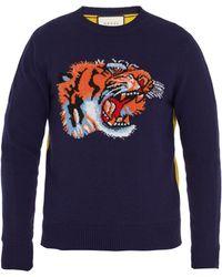 Gucci - Tiger-intarsia Contrast-back Wool Sweater - Lyst