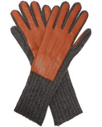 Burberry - Leather And Cashmere Gloves - Lyst