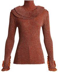 Chloé - Metallic Ruffle Trimmed Sweater - Lyst