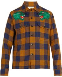 bea196a9d27 Gucci Panther Face Bowling Shirt in Green for Men - Lyst