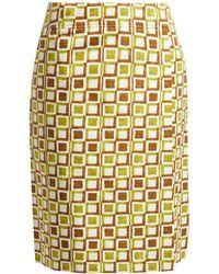 Prada - Logo Patch Square Print Cotton Skirt - Lyst