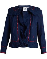 Thierry Colson - Rita Embroidered Ruffle Trimmed Cotton Jacket - Lyst