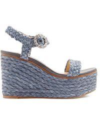 Jimmy Choo - Nylah Crystal-embellished Raffia Wedge Sandals - Lyst