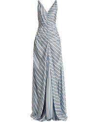 Attico - Penelope V-neck Striped Dress - Lyst