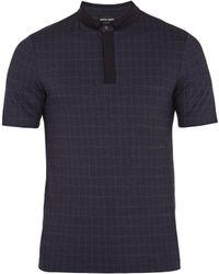 Giorgio Armani | Fantasia Checked-jersey Polo Shirt | Lyst