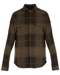 Rick Owens - Dirt Checked Linen And Camel-blend Shirt - Lyst