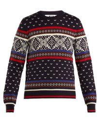 MSGM - Snowflake-intarsia Wool-blend Knit Sweater - Lyst