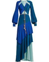 Peter Pilotto - Tassel Trimmed Panelled Silk Gown - Lyst