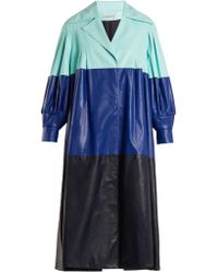 Vika Gazinskaya - Pleated Colour Block Faux Leather Coat - Lyst