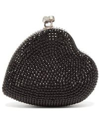 Saint Laurent - Love Box Crystal Embellished Leather Clutch - Lyst