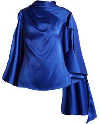 OSMAN | Adena Satin Draped-scarf Top | Lyst