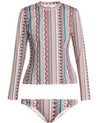 Thorsun - Lillie Geometric Print Rash Guard Bikini - Lyst