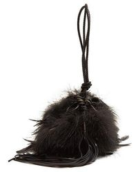 Saint Laurent - Mansour Feather-embellished Clutch - Lyst