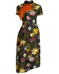 Preen By Thornton Bregazzi - - Alicia Asymmetric Floral Jacquard Dress - Womens - Black Multi - Lyst