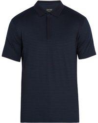 Giorgio Armani | Geometric-print Stretch-cotton Polo Shirt | Lyst