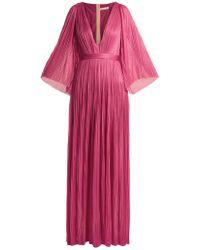 Maria Lucia Hohan - Lur Deep V Neck Silk Tulle Gown - Lyst