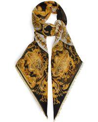 Versace - Baroque Pattern Wool Blend Scarf - Lyst