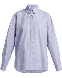 Miu Miu - Button-down Collar Checked Cotton Shirt - Lyst