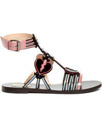Valentino - Love Blade Patent-leather Flat Sandals - Lyst