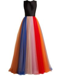 Carolina Herrera - Silk-faille And Tulle Striped Gown - Lyst