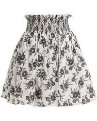 Miu Miu - Floral-print Smocked-waist Mini Skirt - Lyst