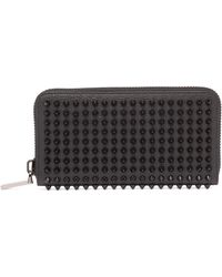 Christian Louboutin - Zip Around Spike Stud Leather Wallet - Lyst