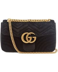 41ebe4dbd35 Lyst - Gucci Gg Marmont Chevron-velvet Shoulder Bag in Black