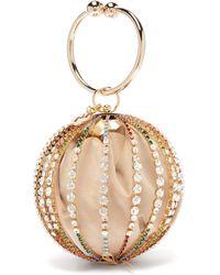 Rosantica By Michela Panero Urania Crystal Cage Velvet Pouch Clutch Bag - Multicolour
