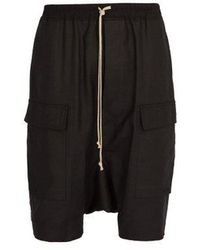 Rick Owens - Dropped Crotch Cotton Blend Shorts - Lyst