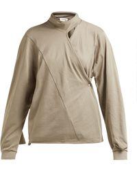 Lemaire - Scarf Neck Cotton Jersey Wrap Blouse - Lyst