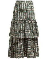 Golden Goose Deluxe Brand - Miranda Floral Check Tiered Midi Skirt - Lyst
