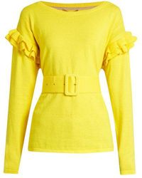 MUVEIL - Ruffle-trimmed Cotton And Wool-blend Jumper - Lyst