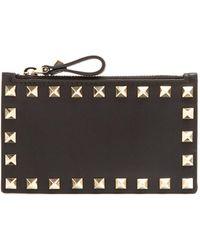 Valentino - Rockstud Leather Cardholder - Lyst